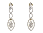 Linear Drop Earrings 2.00 Ct Diamond Natural Certified Solid White Gold
