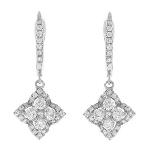 Diamond Dangle Earrings 1.20 Ct Natural Certified Solid White Gold