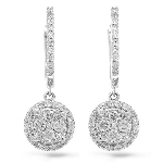Diamond Hanging Earrings 1.20 Ct Natural Certified Solid White Gold