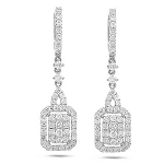 Diamond Leverback Earrings 2.25 Ct Natural Certified Solid White Gold