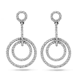 Linear Drop Earrings 2.20 Ct Diamond  Natural Certified Solid White Gold