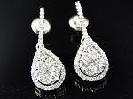 Dangle Earrings 2.55 Ct Diamond Natural Certified Solid Gold