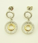 Diamond Hanging Earrings 0.75Ct  Yellow White Gold
