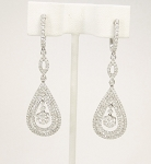 Dangle Earrings 1.55Ct Diamond Natural Certified Solid White Gold