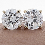 Diamond Studs 3.00 Ct Natural Certified Solid Gold Wedding Earrings