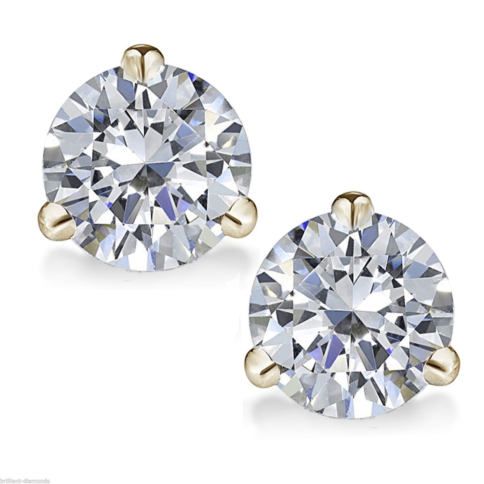 Solitaire Studs 1 00ct Diamond Earrings Natural Certified Gold