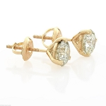 Solitaire Earrings 1.00 Ct Diamond Studs Natural Certified Solid Gold