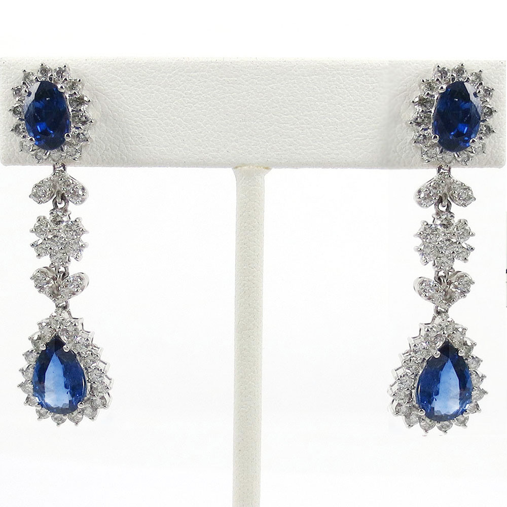Gemstone Dangle Earrings 2.00 Ct Diamond 5.45 Ct Iolite Natural Certified Solid Gold