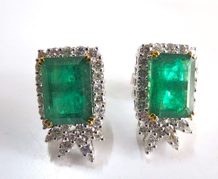 Gemstone Earrings 1.00 Ct Diamond 3.55 Ct Emerald Natural Certified Solid Gold