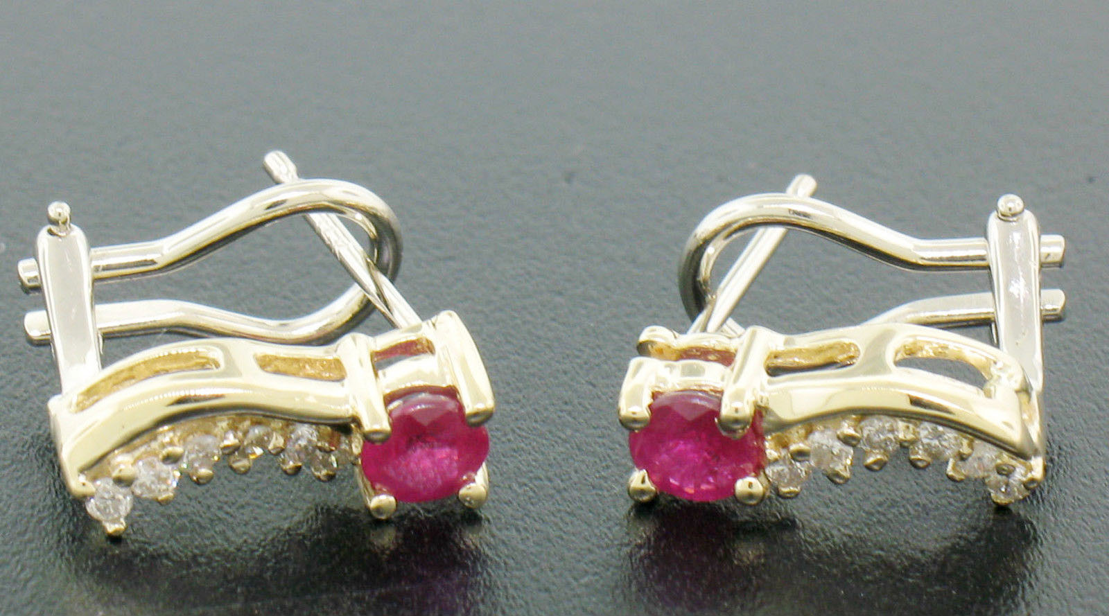 Ruby Earrings 0.20 Ct Diamond 0.70 Ct Ruby Natural Certified Solid Gold