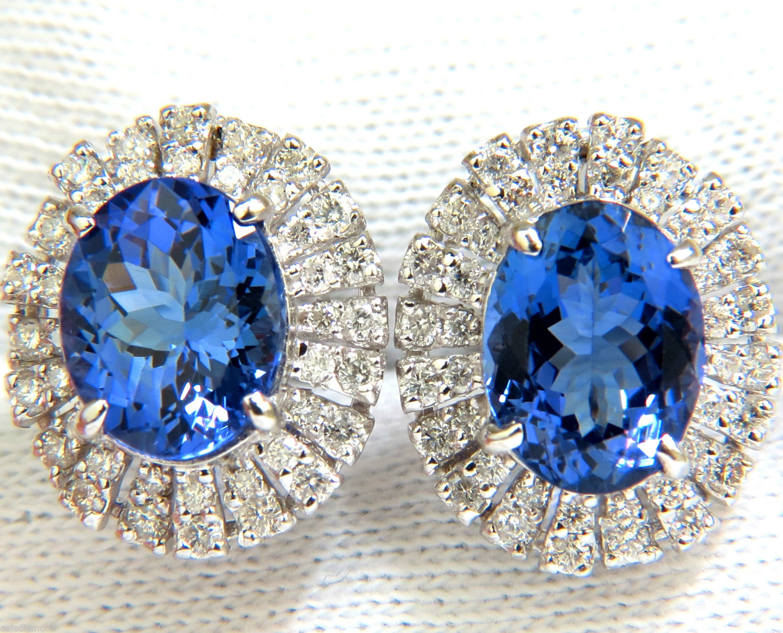 handmade Gemstone Earrings 1.00 Ct Diamond 3.15 Ct Blue Sapphire Natural Certified Solid Gold