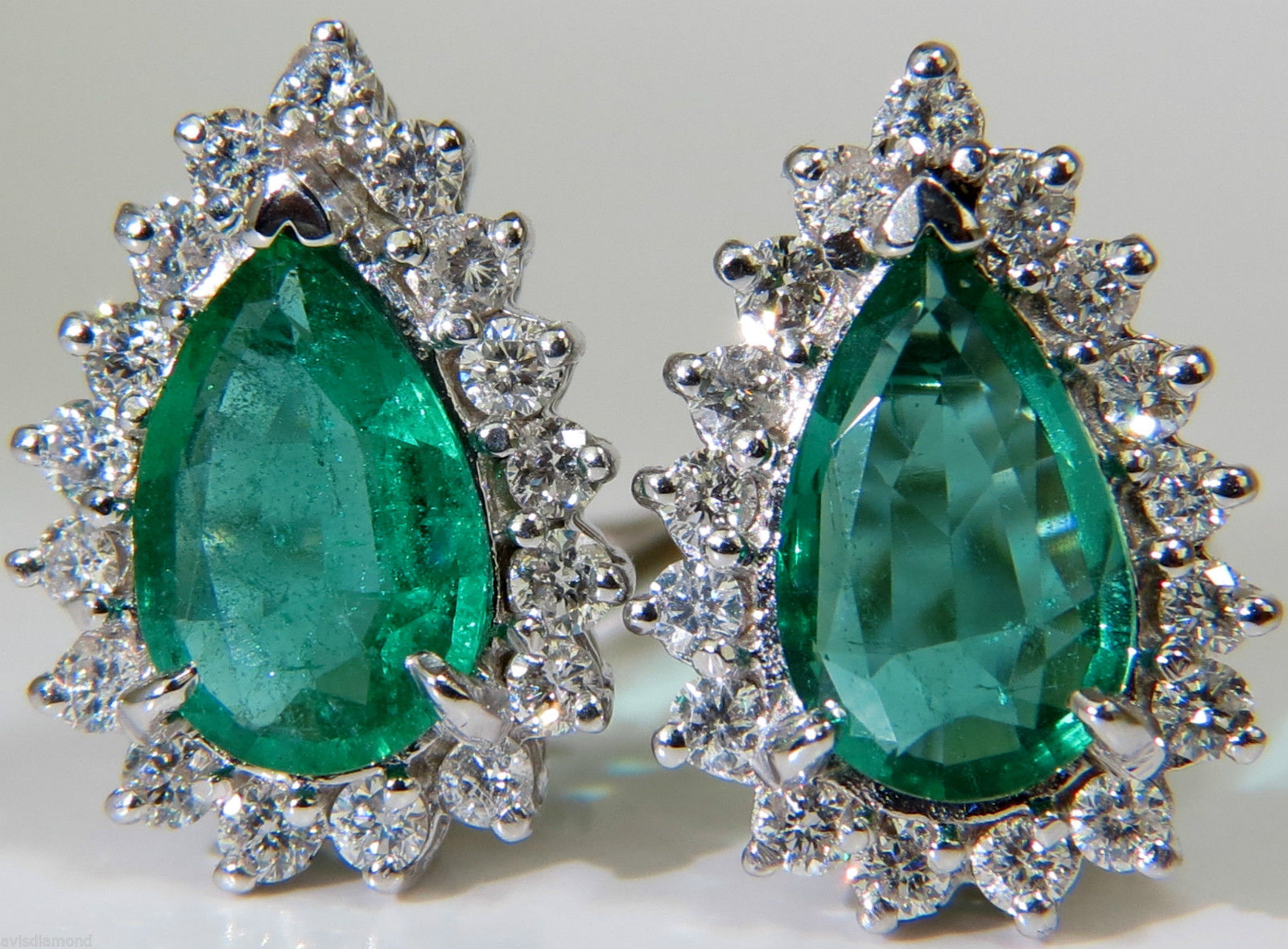 Gemstone Earrings 1.00 Ct Diamond 3.27 Ct Emerald Natural Certified Solid Gold