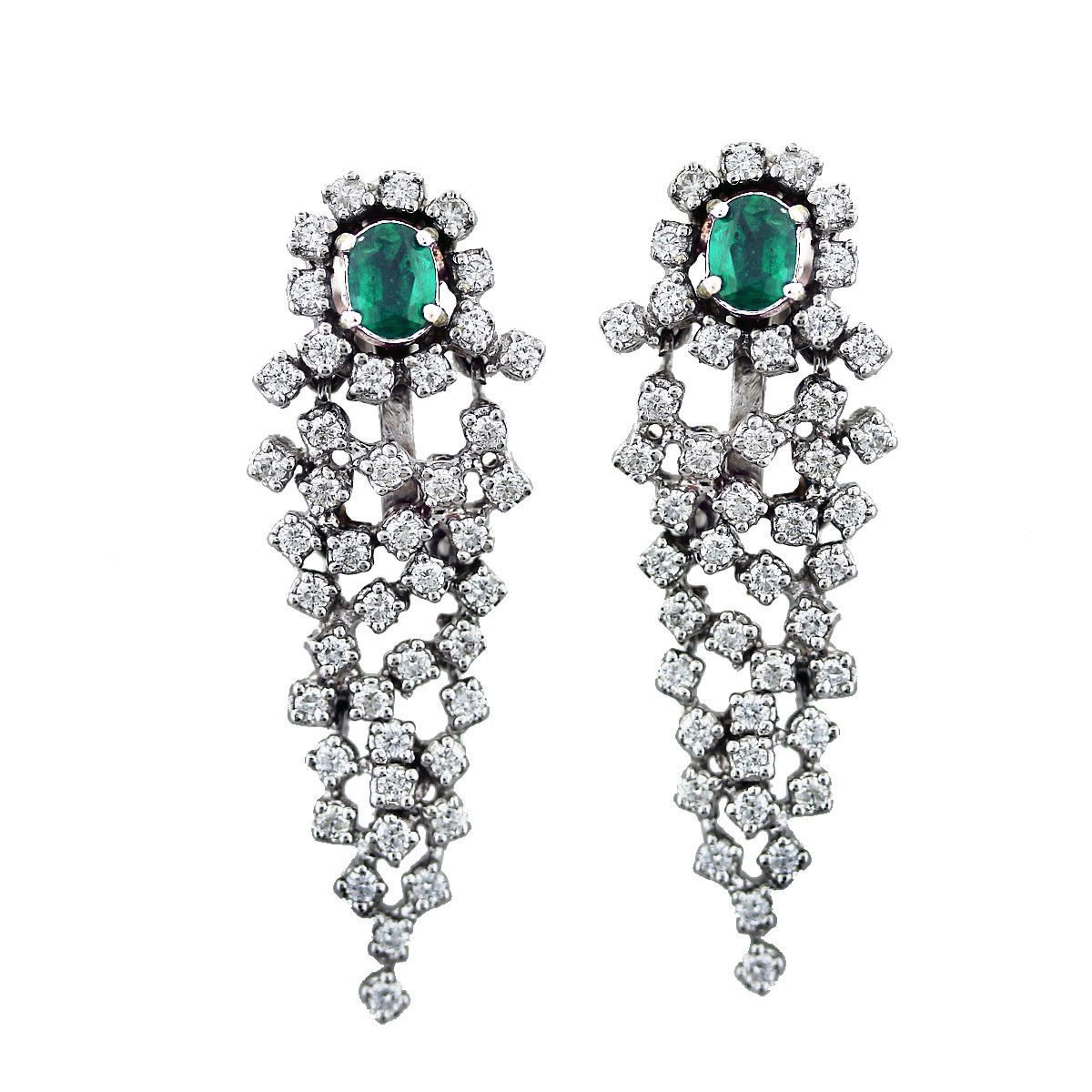 Emerald Earrings 1.25 Ct Diamond 2.00 Ct Gemstone Natural Certified Solid Gold