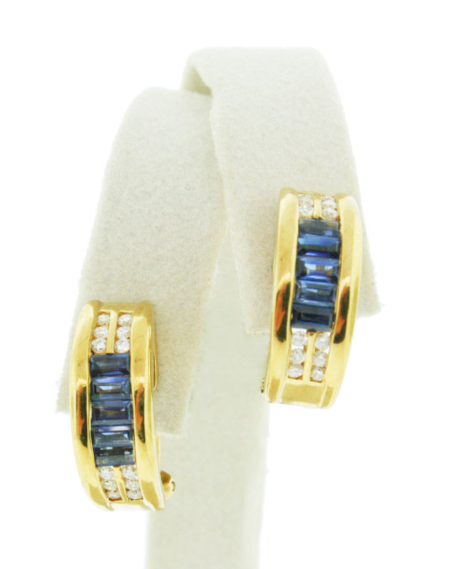 Sapphire Earrings 0.50 Ct Diamond 1.50 Ct Blue Sapphire Natural Certified Solid Gold