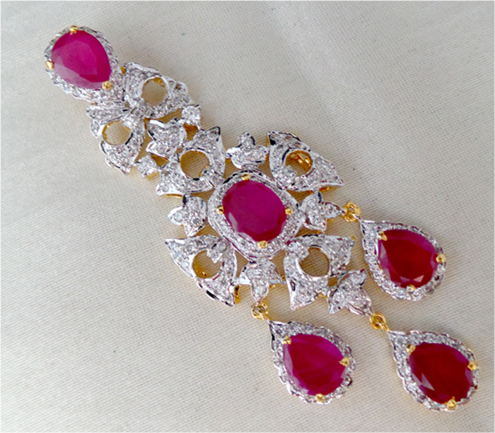 Gemstone Necklace Designs 3.00 Ct Diamond 5.01 Ct Ruby Solid Gold Natural Certified