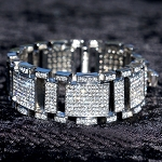 7.55 Ct Natural Diamond Solid Gold Men'S Certified Bracelet
