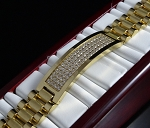 2.50 Ct Ij - Si2 Natural Diamond 14K Gold Men'S Certified Bracelet