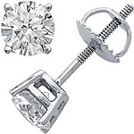1.00 Ct Diamond Sterling Silver Men'S Single Stud
