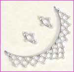 Bridal jewelry Set 3.00Ct Diamond Necklace & Earrings Set Solid Gold Natural Certified