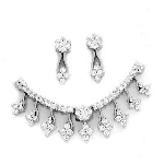 Diamond Wedding Set 2.55Ct Bridal Necklace Set Gold Natural Certified