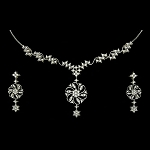 Bridal jewelry Set 4.45Ct Diamond Necklace Set Design Solid Gold Natural Certified