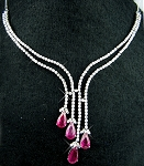 Diamond Gemstone Necklace 10.00Ct Ruby Solid Gold Wedding Natural Certified