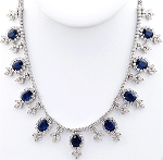 Gemstone Jewelry 7.55Ct Diamond Necklace Blue Sapphire Solid Gold Wedding Natural Certified