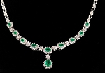 diamond Sapphire & Gemstone Necklace 5.20Ct  Emerald Gold Bridal Set Natural Certified