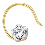 Solitaire Nose Ring 0.10Ct Round Shape Natural Certified Solid Yellow Gold