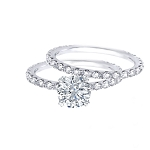 Wedding Ring Sets 1.50Ct Diamond Solid White Gold Natural Certified
