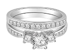 Bridal Ring Sets 2.00 Ct Diamond 14K White Gold Solitaire Natural Certified
