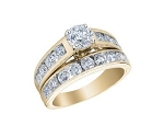 Wedding Ring Sets His and Her 1.75 Ct Solitaire Diamond Gold Natural Certified