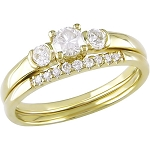 Diamond Wedding Ring Sets 1.00 Ct Solid Gold Solitaire Natural Certified