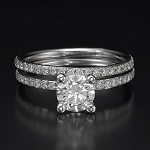 Wedding Ring for Women 2.00 Ct Solitaire Diamond Engagement Set Solid Gold Natural Certified