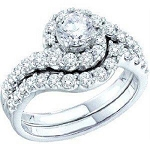 Diamond bridal Sets 2.00Ct Solid Gold Engagement Set Natural Certified