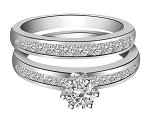 White Gold Wedding Ring Sets 1.50 Ct Diamond Solid Gold Natural Certified