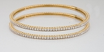 Single line diamond bangle Pair 6.00 Ct Solid Gold Natural Certified