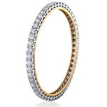 Diamond Eternity Bangle Pair 4.00Ct Solid Gold Natural Certified