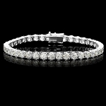Beautiful Diamond Tennis Bracelet 7.00 Ct Solid White Gold Natural Certified