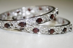 Victorian Bangle 19.50 Carat Natural Certified Diamond Garnet 925 Sterling Silver Anniversary