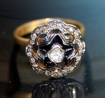 Victorian Rings Natural Uncut Natural Certified Diamond 925 Sterling Silver Festive