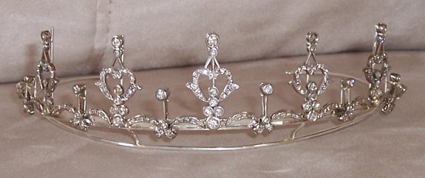 Gold Tiara Crown 6.65 Ct Natural Certified Diamond wedding headbands