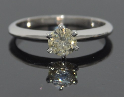 Fancy Colored Diamond Ring 0.59 Ct. Fancy Light Yellow Solid Gold Natural Certified