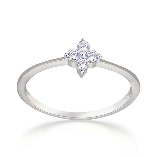diamond Ring 0.06 Ct Round Shape Sterling Silver Wedding