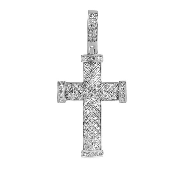 Mens Gold Cross Pendant Natural 0.58 Carats Diamond Solid 10Kt White Gold Hip Hop Pendant 40Mm