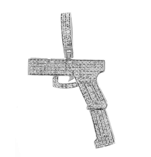 Mens Gold Cross Pendant Natural 0.5 Carats Diamond Solid 14Kt White Gold Hip Hop Pendant 37.50Mm