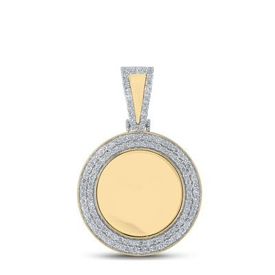 Memory Hip Hop Gold Pendant Natural Round 1.38 Carats Diamond Solid 10Kt Yellow Gold Charm Pendant