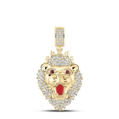Lion Hip Hop Gold Pendant Natural Round 2 Carats Diamond Solid 10Kt Yellow Gold Charm Pendant