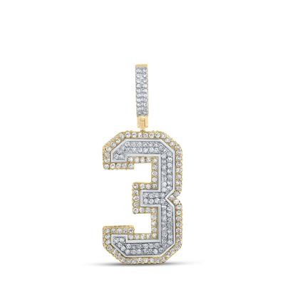 Number Three Hip Hop Diamond Pendant Natural Round 1.17 Carats Diamond Solid 10Kt Yellow Gold Charm Pendant