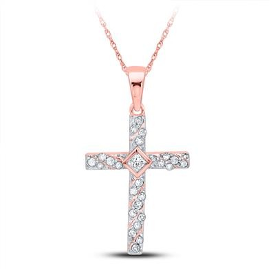 Mens Gold Cross Pendant Natural Round 0.13 Carats Diamond Solid 10Kt Rose Gold Hip Hop Pendant